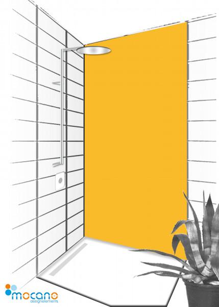 Duschrückwand Gold Gelb 90x210cm einfarbig UNI - Wohnbeispiel