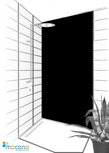Duschrückwand Schwarz 90x210cm einfarbig UNI - Wohnbeispiel