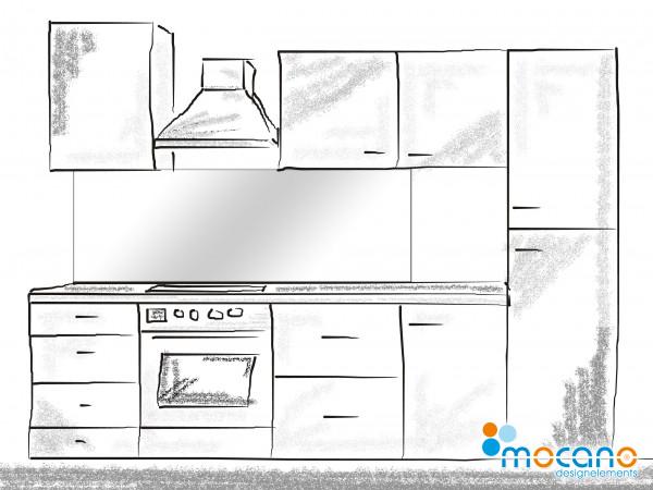 Küchenrückwand Weiß einfarbig UNI 180x60cm - Wohnbeispiel