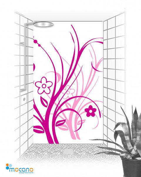 Duschrückwand Lila Florale Ornamente 120x210cm - Wohnbeispiel