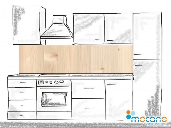 Küchenrückwand Holzoptik Fichte 200x50cm - Wohnbeispiel