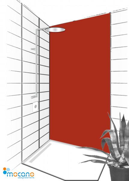 Duschrückwand Ziegel Rot 90x210cm einfarbig UNI - Wohnbeispiel
