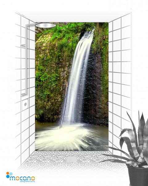 Wasserfall - 120x210cm Duschrückwand - Wohnbeispiel