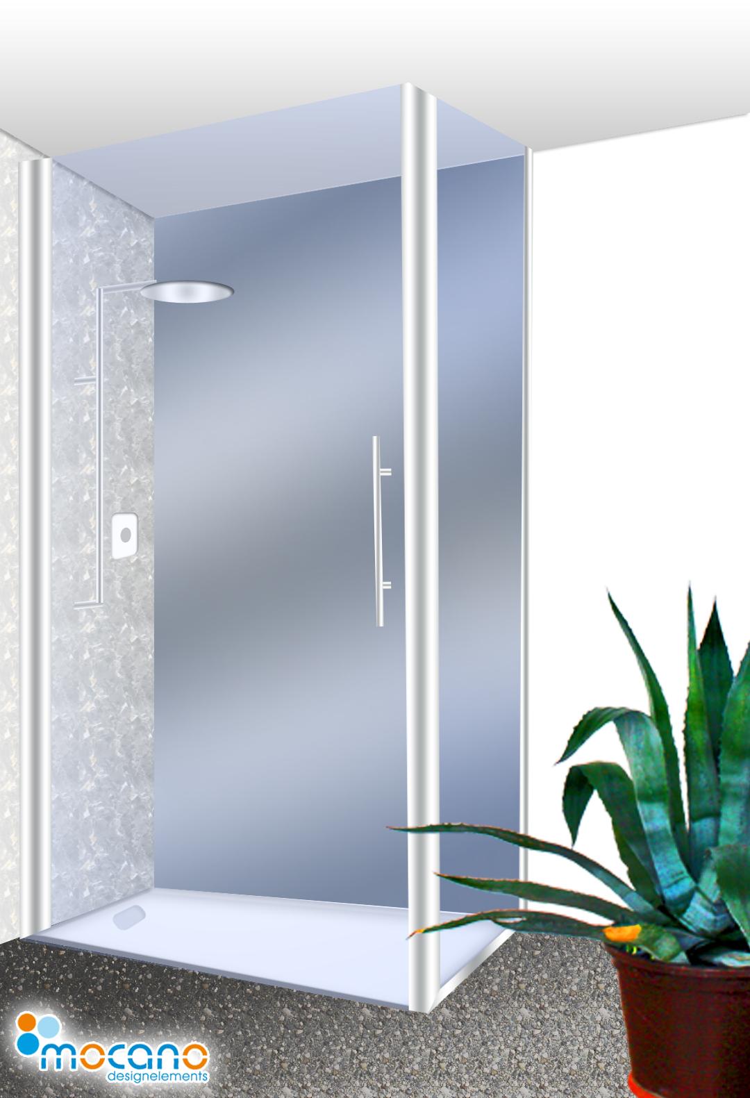 exklusive duschr ckwand metallic g nstig online kaufen mocano designelemente. Black Bedroom Furniture Sets. Home Design Ideas
