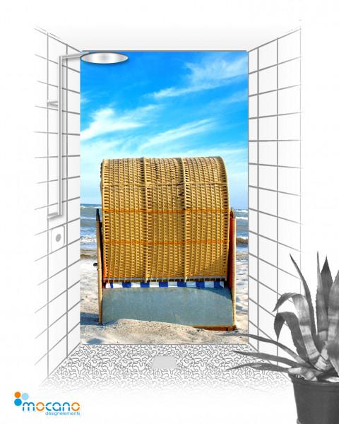 Duschrückwand Strandkorb 5 120x210cm - Wohnbeispiel