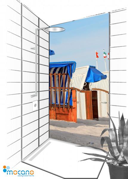 Duschrückwand Strandkörbe 21 - 90x210cm - Wohnbeispiel