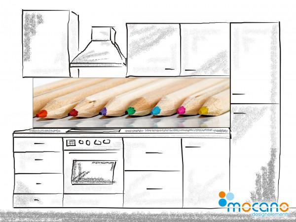 Küchenrückwand Buntstifte 200x50cm - Wohnbeispiel