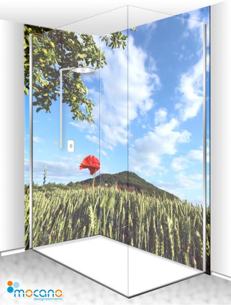 Duschrückwand Eck-Set Panorama Landschaft 200x210cm - Wohnbeispiel