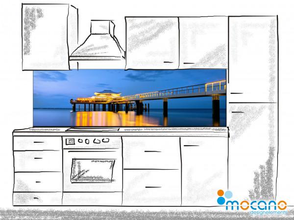 Küchenrückwand Seebrücke Timmendorfer Strand blaue Stunde 200x60cm - Wohnbeispiel