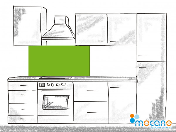 Küchenrückwand Frühlings Grün einfarbig UNI 120x50cm - Wohnbeispiel
