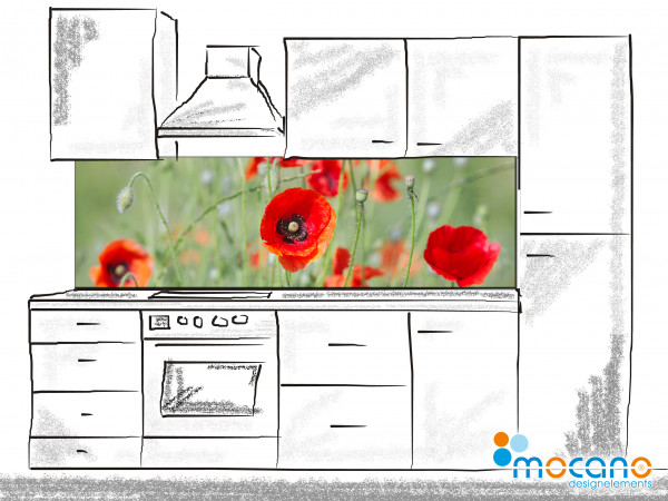 Küchenrückwand Mohnblumenfeld 200x60cm - Wohnbeispiel