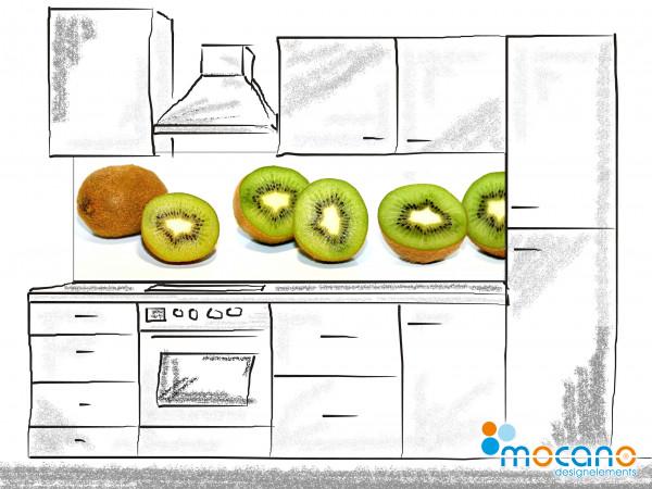 Küchenrückwand Kiwis - 200x60cm - Wohnbeispiel