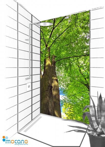 Duschrückwand Baumkrone 2 - 90x210cm - Wohnbeispiel