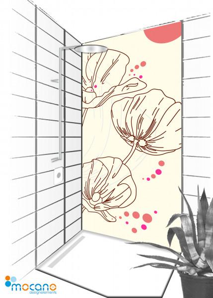 Duschrückwand Design Mohnblumen 90x210cm - Wohnbeispiel