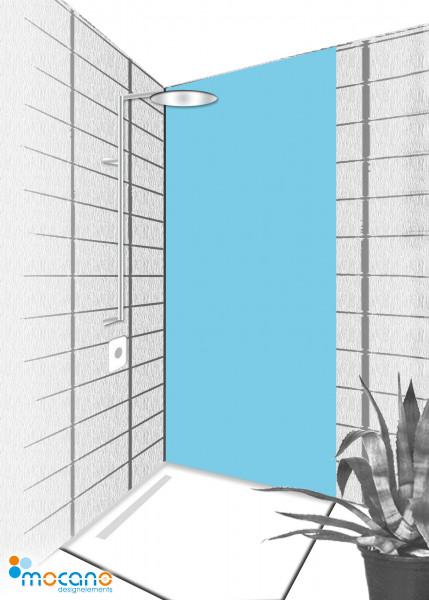 Duschrückwand Licht Blau 80x210cm einfarbig UNI - Wohnbeispiel