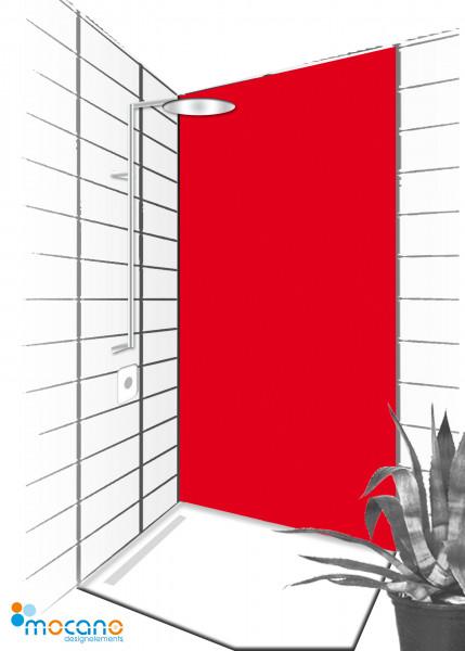 Duschrückwand Rot 90x210cm einfarbig UNI - Wohnbeispiel