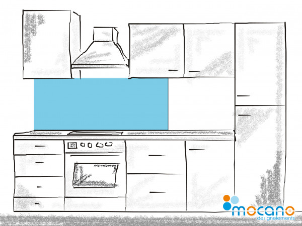 Küchenrückwand Licht Blau einfarbig UNI 150x60cm - Wohnbeispiel