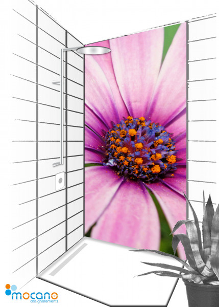 Duschrückwand Flower Melody 72 - 90x210cm - Wohnbeispiel