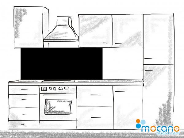 Küchenrückwand Schwarz einfarbig UNI 150x60cm - Wohnbeispiel