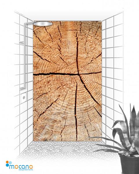Duschrückwand Holzstruktur Fichte 2 120x210cm - Wohnbeispiel
