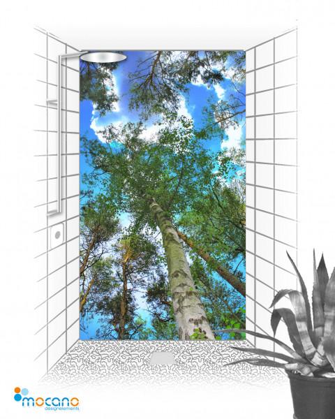 Duschrückwand Birkenkrone mit Himmel 120x210cm - Wohnbeispiel