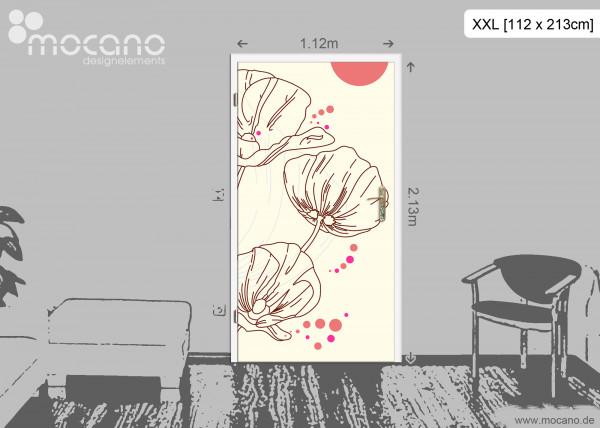 Design Mohnblumen Türtapete Papier - Wohnbeispiel