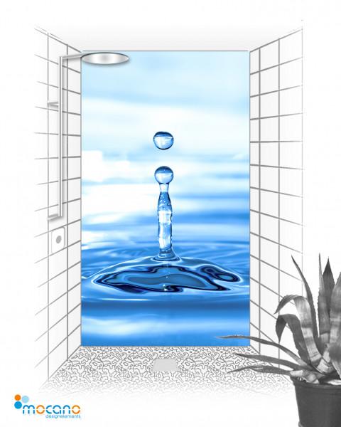Wassertropfen 2 - 120x210cm Duschrückwand - Wohnbeispiel