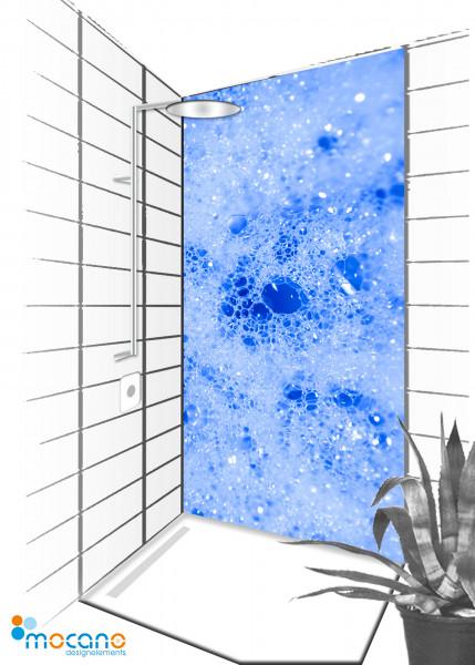 Duschrückwand Blue Blow 90x210cm - Wohnbeispiel
