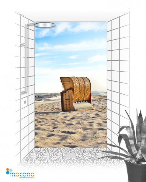 Duschrückwand Strandkorb 6.1 120x210cm - Wohnbeispiel