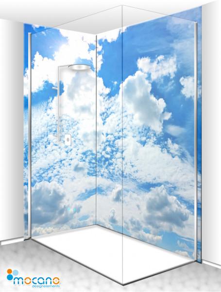 Duschrückwand Eck-Set Wolkenhimmel Panorama 200x210cm - Wohnbeispiel