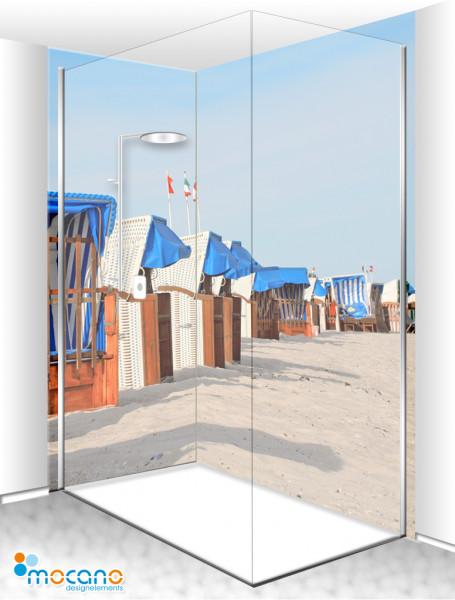 Duschrückwand Eck Set - Strandkörbe 21 - Wohnbeispiel