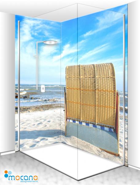 Duschrückwand Eck-Set Strandkorb 5 200x210cm - Wohnbeispiel