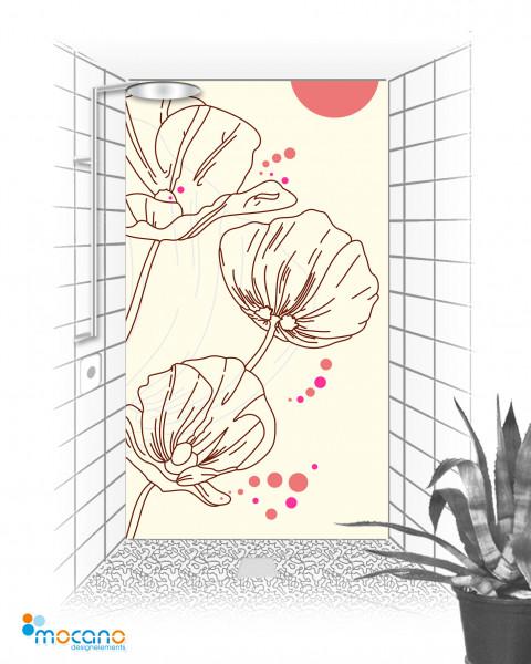 Duschrückwand Design Mohnblumen 120x210cm - Wohnbeispiel