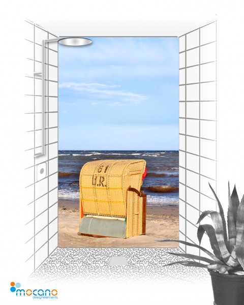 Duschrückwand Strandkorb 8 120x210cm - Wohnbeispiel