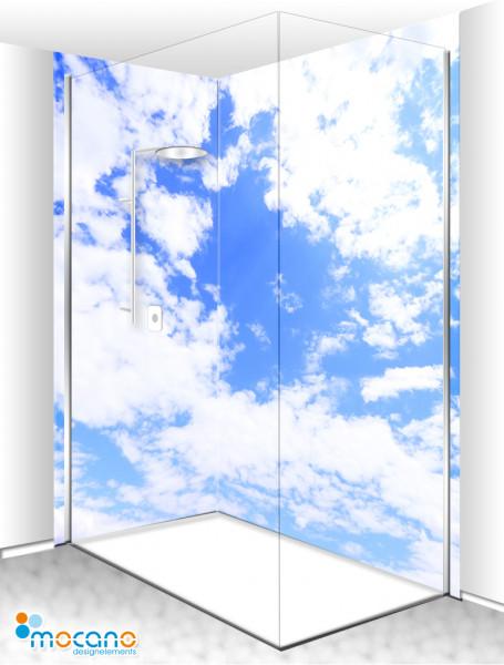 Duschrückwand Eck-Set Wolken Panorama 200x210cm - Wohnbeispiel
