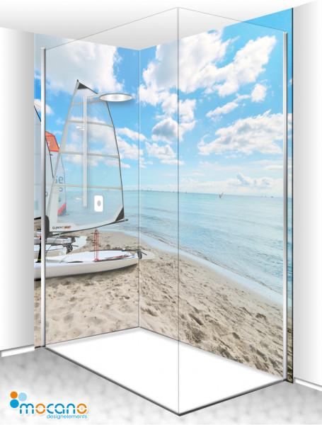 Duschrückwand Eck-Set Dream Beach 200x210cm - Wohnbeispiel