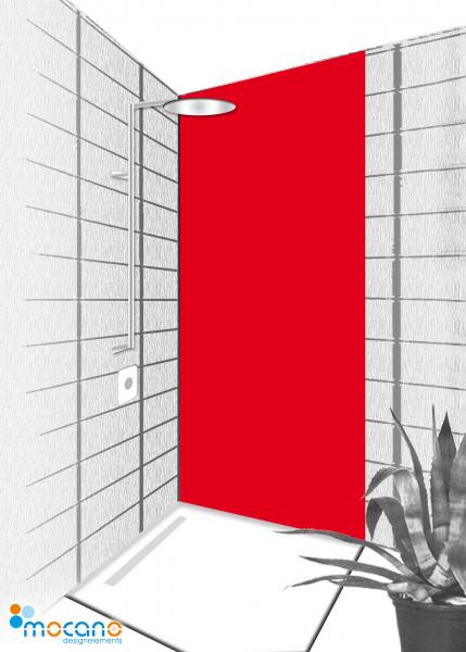 Duschrückwand Rot 80x210cm einfarbig UNI - Wohnbeispiel