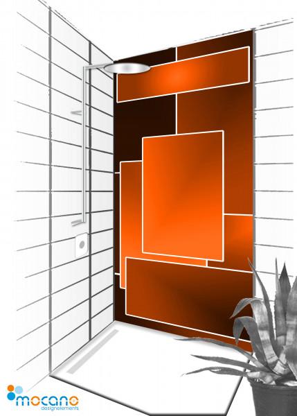 Duschrückwand Orange Lounge 90x210cm - Wohnbeispiel