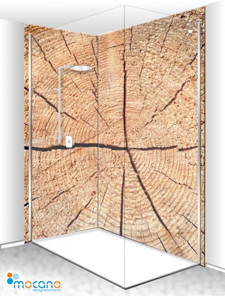 Duschrückwand Eck-Set Holzstruktur Fichte 2 200x210cm - Wohnbeispiel