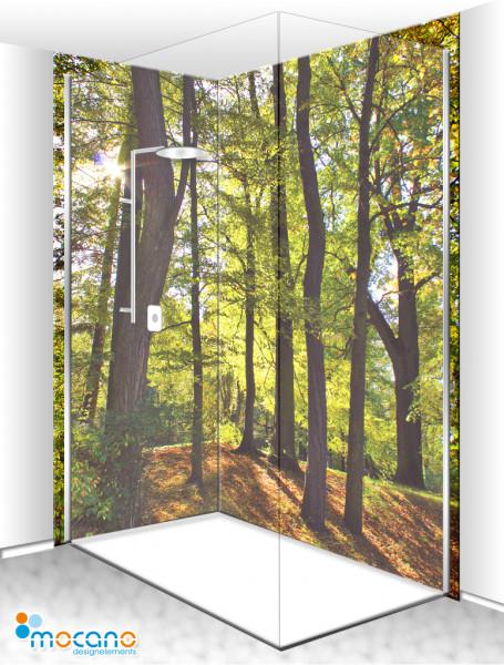 Duschrückwand Eck-Set Laubbaum Wald 200x210cm - Wohnbeispiel