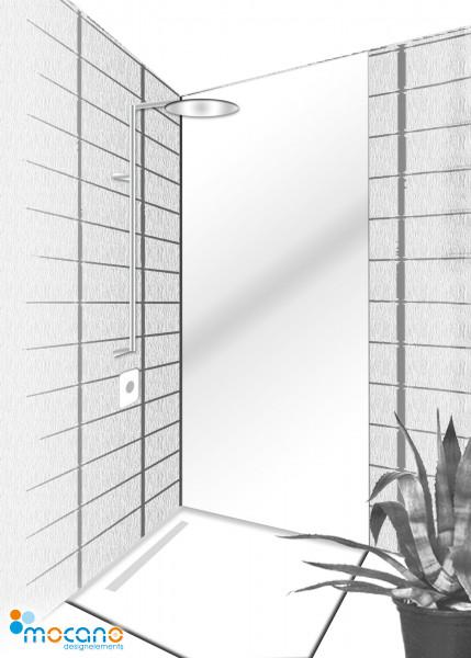 Duschrückwand Weiß 80x210cm einfarbig UNI - Wohnbeispiel