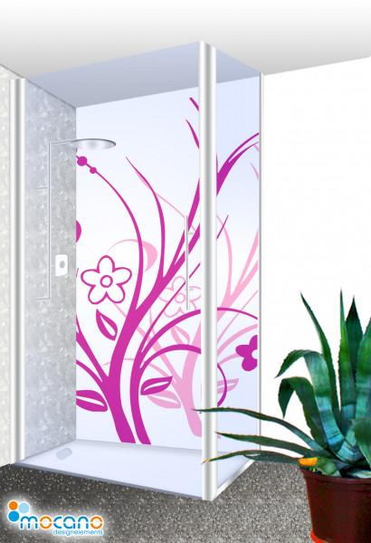 Duschrückwand - Lila Florale Ornamente Wohnbeispiel