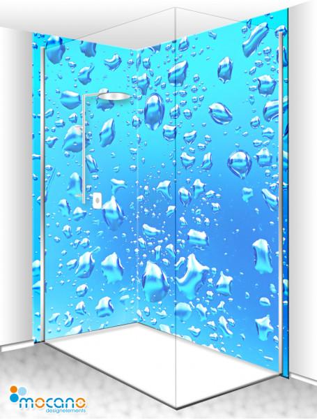 Duschrückwand Eck-Set Blaue Wassertropfen 200x210cm - Wohnbeispiel