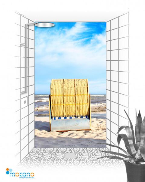 Duschrückwand Strandkorb 11 120x210cm - Wohnbeispiel