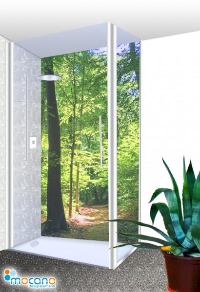 Duschrückwand Lichtung lichtdurchflutet 100x210cm - Wohnbeispiel