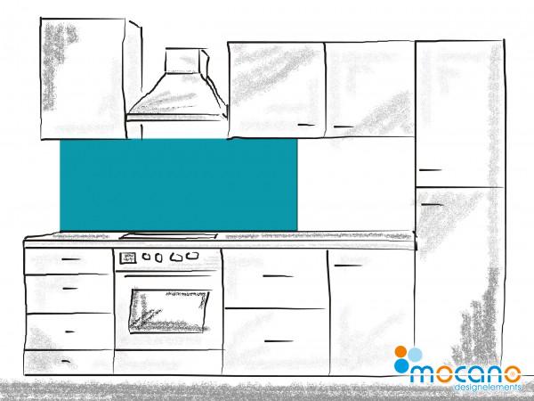 Küchenrückwand Meer Blau einfarbig UNI 150x60cm - Wohnbeispiel