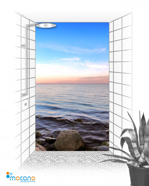 Meerblick 3 - 120x210cm Duschrückwand - Wohnbeispiel