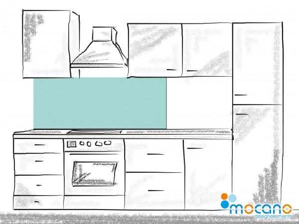 Küchenrückwand Mint einfarbig UNI 150x60cm - Wohnbeispiel