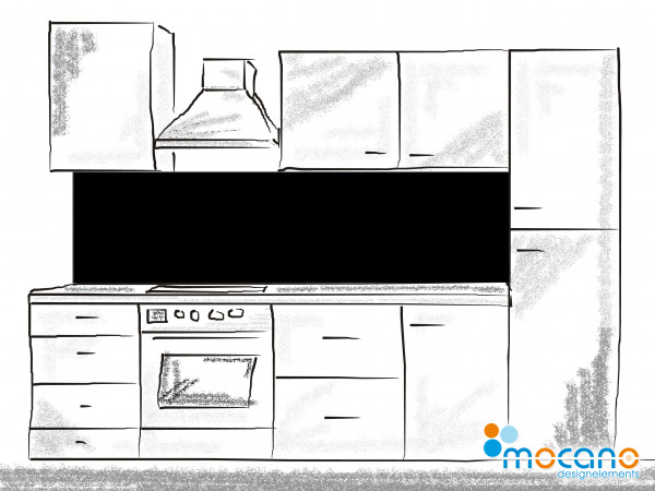 Küchenrückwand Schwarz einfarbig UNI 200x50cm - Wohnbeispiel