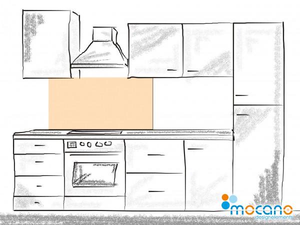 Küchenrückwand Pastel Peach einfarbig UNI 120x60cm - Wohnbeispiel